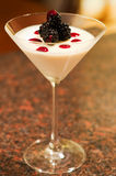 Blackberry Pannacotta. Easy dessert. Creamy Italian Pannacotta (boiled cream) dessert with fresh blackberries and raspberry sauce. Served in martini glass royalty free stock image