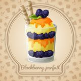 Blackberry parfait badge Royalty Free Stock Images