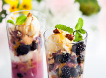 Blackberry parfait Stock Image