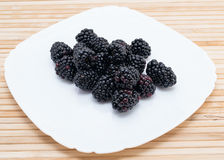 Blackberry on plate Royalty Free Stock Image