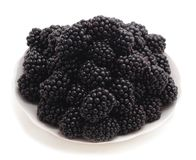 Blackberry on plate. Royalty Free Stock Photography