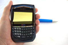 Blackberry with post-it Royalty Free Stock Photography