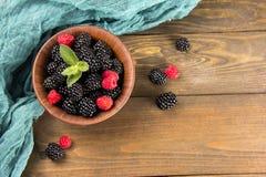 Blackberry with raspberries Stock Images