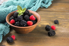 Blackberry with raspberries in a clay pot Stock Photos