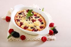 Blackberry and raspberry cake. With streusel topping stock photos
