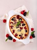 Blackberry and raspberry cake. With streusel topping royalty free stock photo