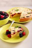 Blackberry and raspberry cake. With streusel topping royalty free stock photography
