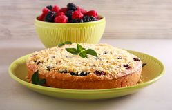 Blackberry and raspberry cake. With streusel topping royalty free stock images