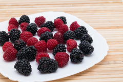 Blackberry and raspberry Stock Photo