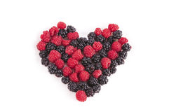 Blackberry and raspberry fruit heart isolated Stock Photo