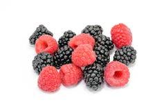 Blackberry Raspberry Fruit Mix. On white background stock photography