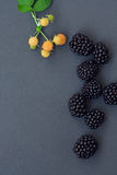 Blackberry, raspberry on grey, copyspace Royalty Free Stock Images