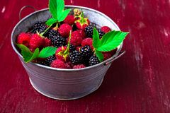 Blackberry and raspberry in a metal bowl on red wooden background.  Royalty Free Stock Photo