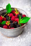 Blackberry and raspberry in a metal bowl on red wooden background.  Royalty Free Stock Images