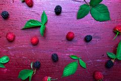 Blackberry and raspberry on red wooden background. Top view. Frame. Flat lay.  Royalty Free Stock Images