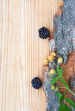 Blackberry, raspberry on wood, card Royalty Free Stock Photography