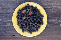 Blackberry and raspberry in yellow ceramic plate Royalty Free Stock Images