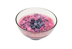 Blackberry (rubus) with sour cream Stock Photo