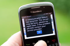 Blackberry smartphone. Current major issues with Blackberry connectivity, image depicts Blackberry suffering from the current failure Stock Photo