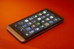Blackberry-smartphone, Dreamstime app, enz. stock fotografie