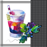 Blackberry. Smoothie in watercolor style royalty free illustration