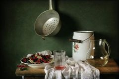 BlackBerry. Still life with berries currants different varieties on the table Stock Photography