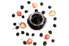 Blackberry and strawberry jam Stock Photos