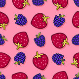 Blackberry and strawberry seamless pattern  Stock Photography