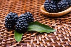 Blackberry su fondo di vimini Fotografie Stock Libere da Diritti