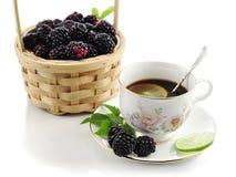 Blackberry and tea Stock Image