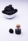 Blackberry und Flasche stockfoto