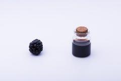 Blackberry und Flasche stockbilder