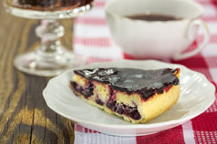 Blackberry vanilla custard tart. Slice of blackberry vanilla custard tart on rustic background Stock Images