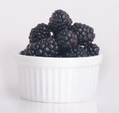 Blackberry in white bowl on white background Royalty Free Stock Photos