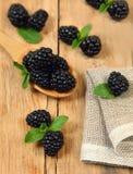 Blackberry on wood Stock Photo