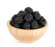 Blackberry in wooden bowl Royalty Free Stock Image