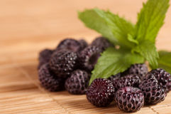Blackberry in wooden bowl Royalty Free Stock Photo