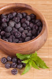 Blackberry in wooden bowl Stock Photography