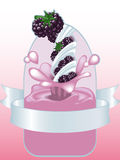 Blackberry yogurt Stock Photos