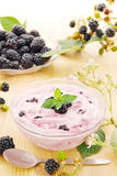Blackberry yogurt Royalty Free Stock Images