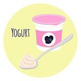 Blackberry yogurt healthy milk product in plastic container. Flat style. Blackberry yogurt healthy cream milk product in plastic container with spoon. Flat royalty free illustration