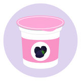 Blackberry yogurt in plastic cup. Milk cream product. Flat style. Blackberry yogurt in plastic cup. Milk cream product in flat vector style Royalty Free Stock Photos