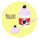 Blackberry yogurt in plastic cup. Milk cream product. Flat style Stock Photo
