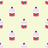 Blackberry yogurt in plastic cup. Seamless pattern. Milk cream product. Stock Photography