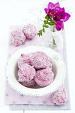 Blackberry zephyr. Russian marshmallows, on white background Royalty Free Stock Images