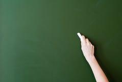 Blackboard. Hand writing by chalk on a blackboard Stock Images