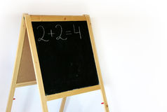 Blackboard 2+2=4. Blackboard with digits, isolated Royalty Free Stock Photography