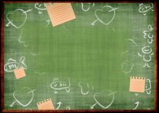Blackboard. Grungy green background - green blackboard with drawings Royalty Free Stock Images
