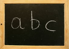 Blackboard abc. The alphabet on the blackboard Stock Photo
