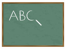Blackboard ABC. Green chalkboard with ABC written and chalk. Vector illustration Stock Image
